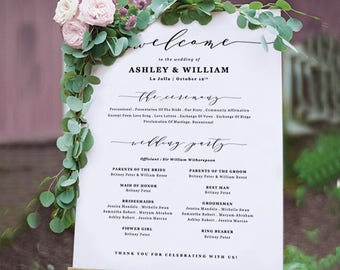Wedding Program Sign / Wedding Program Poster / Welcome Sign Template / Edit in Word or Pages