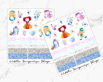 Alice in Wonderland Stickers// With Washi // KC002