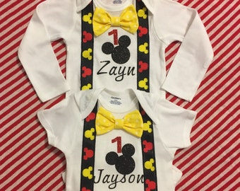 Mickey Mouse first birthday onesie with bowtie, Mickey Mouse birthday outfit, first birthday onesie, Mickey Mouse birthday, baby boy onesie