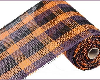 "10""X10yd Purple/Orange/Black Woven Check Paper Mesh/Wreath Supplies/Paper Mesh/RR800652"