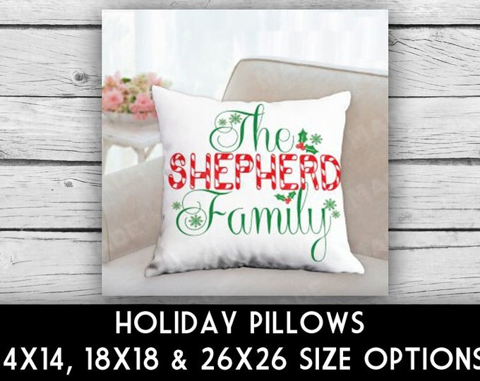 HOLIDAY Candy Cane Family Name Double-Sided Pillow, CHRISTMAS, Ho Ho Ho, Merry Christmas, Home Decor, Seasons, Decorative Pillows, Pillows