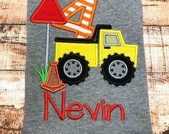 Construction 4th Birthday Applique Shirt