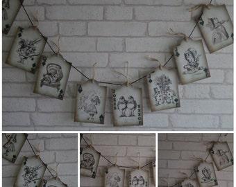 Tea Party Alice in Wonderland Tag Bunting/Garland Wedding,Decoration,Banner,Tea Part, Decor,Venue Decoration