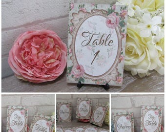 Shabby Chic Table Numbers Top Table Favor Wedding,Tea Party