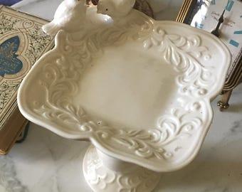 White Ceramic Bird Bath