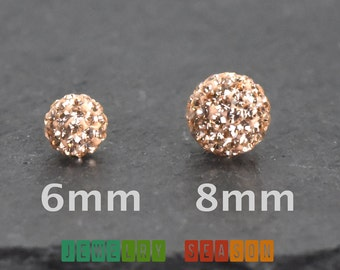 Girls Screw Back Earrings with Peach Cubic Zirconia Disco Ball 925 Sterling Silver Locking Backs Childrens Womens Safety Earrings