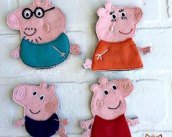 Peppa Pig inspired finger puppets