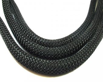 Braided rope diameter 10 mm, black, per meter