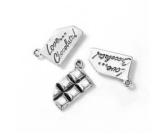 10 pendants charms silver matte chocolate love chocolate