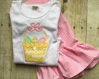Easter Basket Applique shirt, Pink Gingham pants