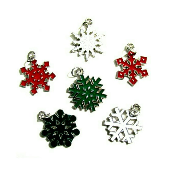 Red Green White Snowflake Charms Silver Tone Charms