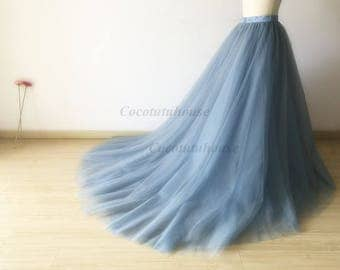 Dusty Blue Tulle Skirt With A Long Train/Floor Length Tulle /Adult Women Tulle Skirt Long Skirt//Wedding Dress/Bridesmaid/Bachelorette TuTu