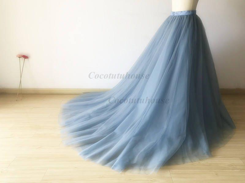 Dusty Blue Tulle Skirt With A Long Train Floor Length Tulle