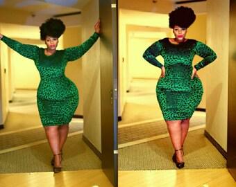 Gorgeous green flocked velvet   bodycon dress