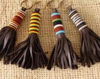 3 set of maasai handmade beaded leather keyhoders/ Original handmade key chain from Kenya / leather beaded key chain/ gift under 30