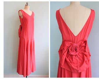 Vintage 1920s | Fushia Silk Drop-Waist Party Dress w/ Back Bow | small | 4