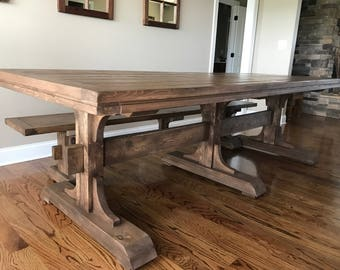 Triple Pedestal Trestle Table