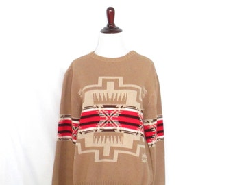 Vintage 90's Southwest Sweater 1990's Aztec Pullover Sweater Tribal Boho Sweater Women's Large Acrylic Vintage Jumper Geometric 90's Sweater