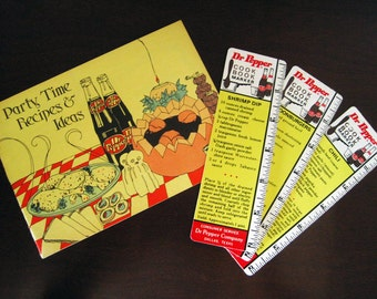 Dr. Pepper Cookbook Booklet and Recipe Bookmarks - Party Time Recipes & Ideas – Soft Drink Soda Pop