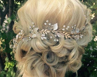 Hair Vine, Bridal Antique Gold Leaf Hair Vine, Wedding Hair Accessory, Bridal Wreath With Clear Crystal Rhinestones, Hair Crown