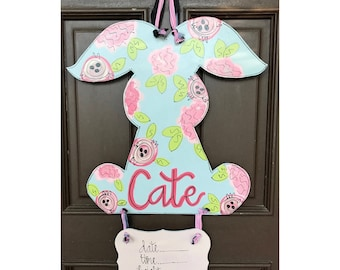 floral baby door hanger// hospital door hanger // light grey + blush + pink // bunny // nursery door hanger