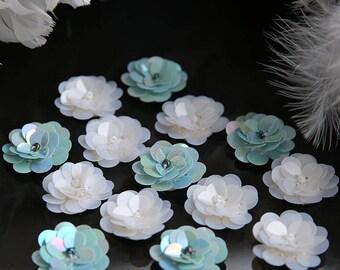 "2.6cm 1.02"" wide 20pcs  ivory/aqua flower sequins beads Rhinestones brooch appliques patches M52S31 free ship"