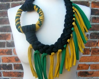 Jamaican Colours Tribal Fringed Necklace