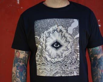 Men's t-shirt, Eye of Providence shirt, ALL SEEING EYE of god T-shirt, t-shirt illuminati, steampunk clothing, masonic eye, boyfriend tshirt