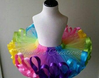 Summertime rainbow ribbon trimmed tutu