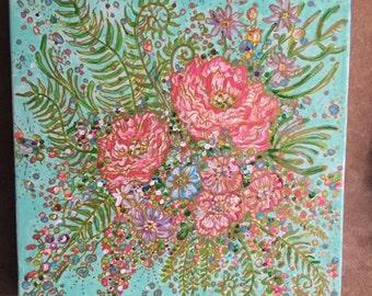 Pink, aqua and gold flowes