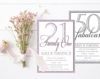 Personalised Glitter Effect Birthday Invitations with Envelopes