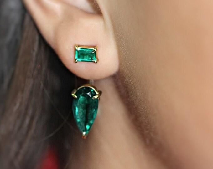 Green quartz earring agate earring green stone asymmetric gold earring silver earring green stone gold earring