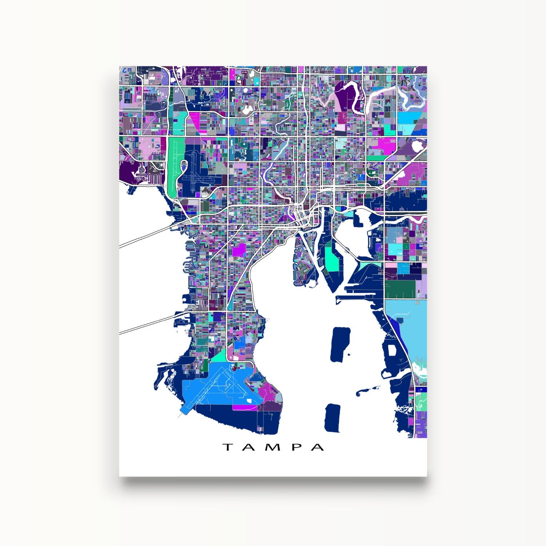 tampa map print tampa florida city map art street maps. Black Bedroom Furniture Sets. Home Design Ideas