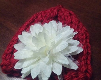 Beautiful baby hat with removable  flower embellishment