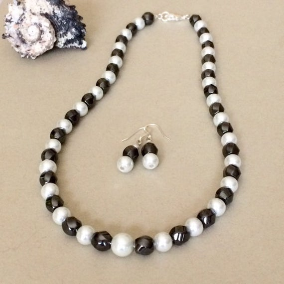Black White Pearl Necklace Set Black White Necklace Earrings
