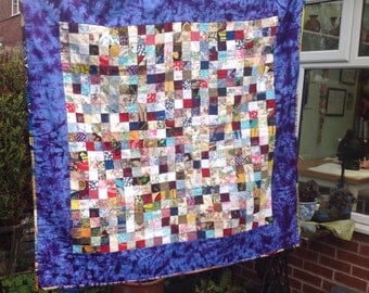 REDUCED Patchwork quilt, throw, lap, cot. Liberty, Laura Ashley, vintage fabrics.