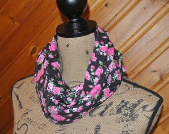 Black Floral Infinity Scarf,Baby or Toddler Infinity Scarf,Infant to 12 years,Kids Scarf,Loop Scarf,lighweight kids scarf,Drool Bib