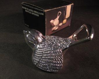 "Silver-plated Swallow bird bottle cap opener, 2 1/2""x3"", vintage NIB"
