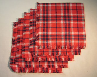 """5 handmade 15"""" red,white,and blue plaid cloth napkins, woven fabric, hand sewn and fringed"""