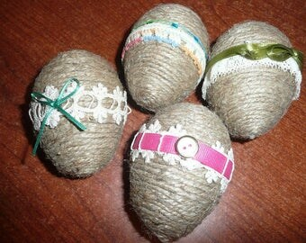 "4 Handwrapped 4"" Eggs With Jute Twine/Trims/Ribbon"