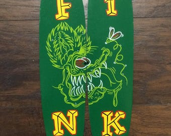 Custom painted and pinstriped Rat Fink mini Skateboard cut out.