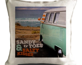 Vintage Retro VW CAMPER VAN Cushion Pillow Cover - Sandy toes and salty kisses - 40cm 16 inch