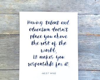 Hand lettered, West Wing: Talent and Education