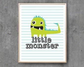 Monster Nursery Print, Digital Poster, Printable Digital Art, Wall Decor, Boys Children / 8x10inch & A4 / INSTANT DOWNLOAD