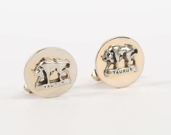 """1950's-60's SWANK Gold and Silver Tone Horoscope Toggle Cufflinks, Taurus, Excellent Cond., 3/4"""" Diameter."""