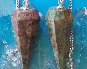 2 Hand Carved Rare RUBY Fuchsite CRYSTAL Dowsing PENDULUM Set with Chains and Pouches, Divination