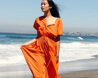 Vintage 1970s Orange Maxi Dress by Vanity Fair / Boho Maxi Dress / Beach Cover Up Robe One Size fits most