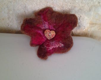 Wet felted flower style brooch in brown and red