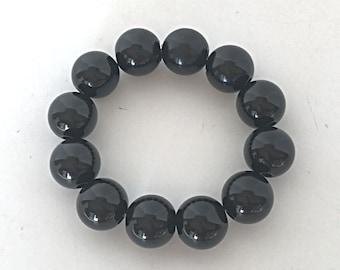 Black bracelet, womans statement bracelet for her, chunky simple everyday bracelet for her, stretch beaded bracelet, stackable bracelet