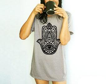 Hamsa Stencil Tattoo Style Shirt Men Tshirt Yoga Meditation Hand of Fatima shirt man spiritual  hand screen printed Stencil